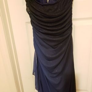 Betsy & Adam Dresses - Shades of blue midnight halter gown.